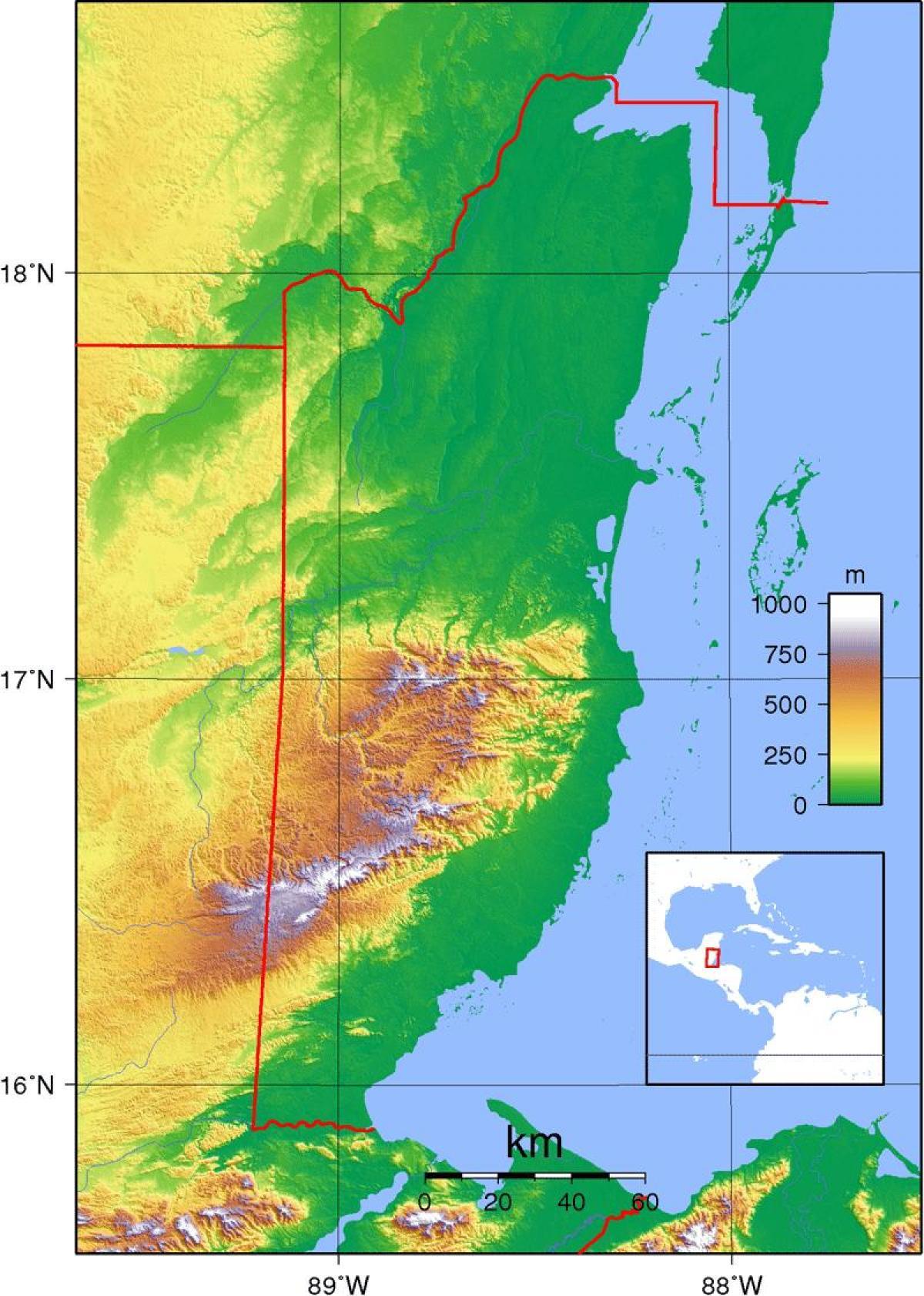 Fysisk Kort Over Belize Kort Af Fysiske Belize Central Amerika